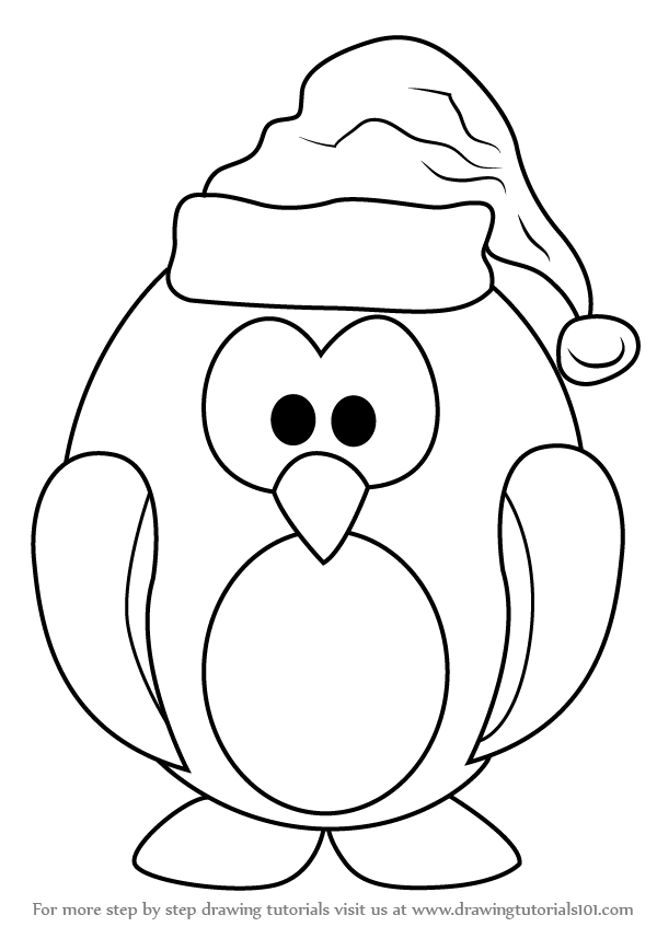600x847 Learn How To Draw Penguin Santa Claus (Christmas) Step By Step