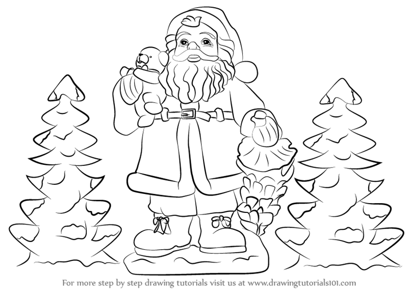 800x566 Learn How To Draw Santa Claus With Gifts (Christmas) Step By Step