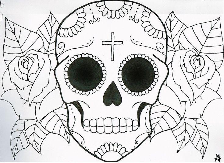 735x536 45 Best Sugar Skull Simple Tattoo Images On Skull
