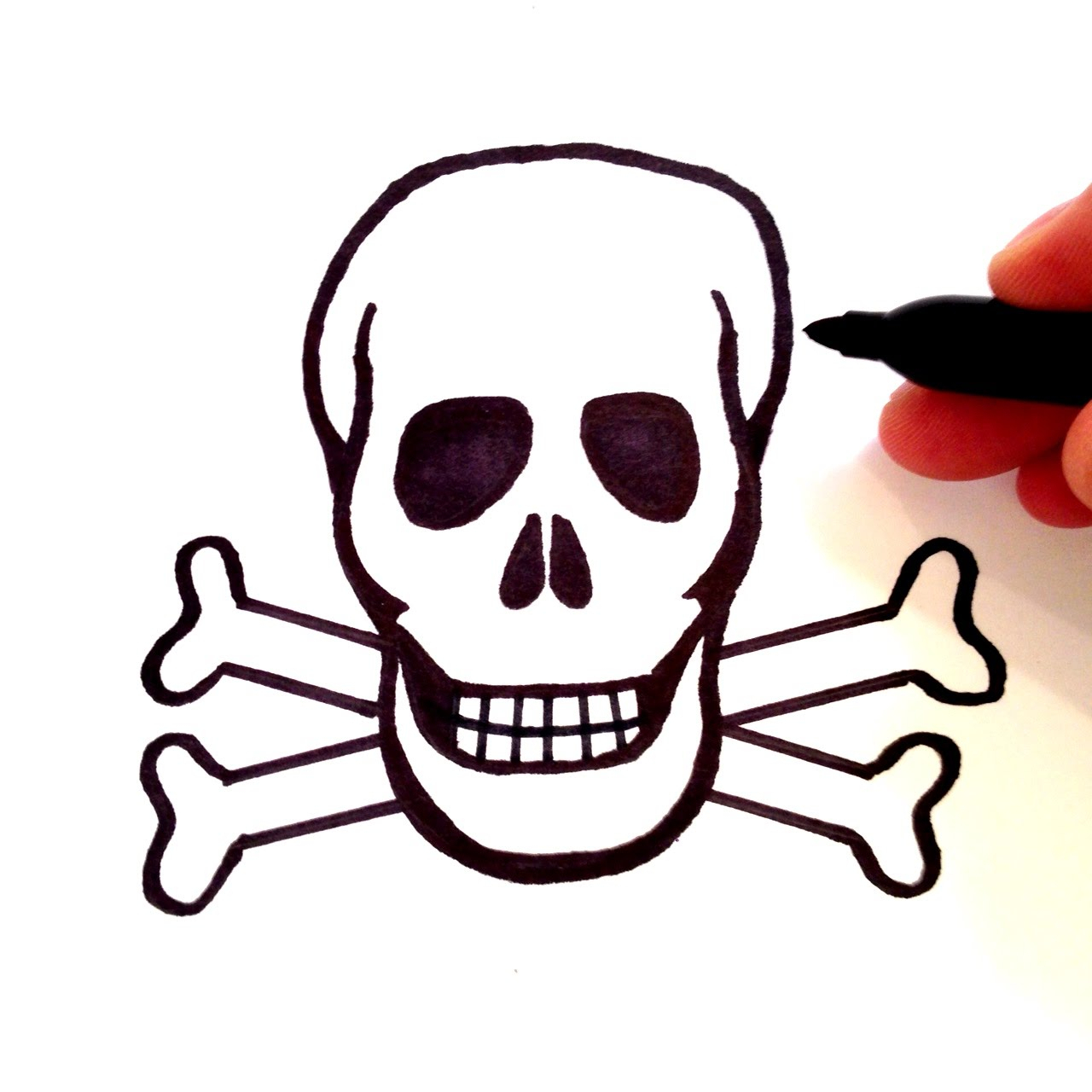 1280x1280 How To Draw A Skull And Crossbones Easy