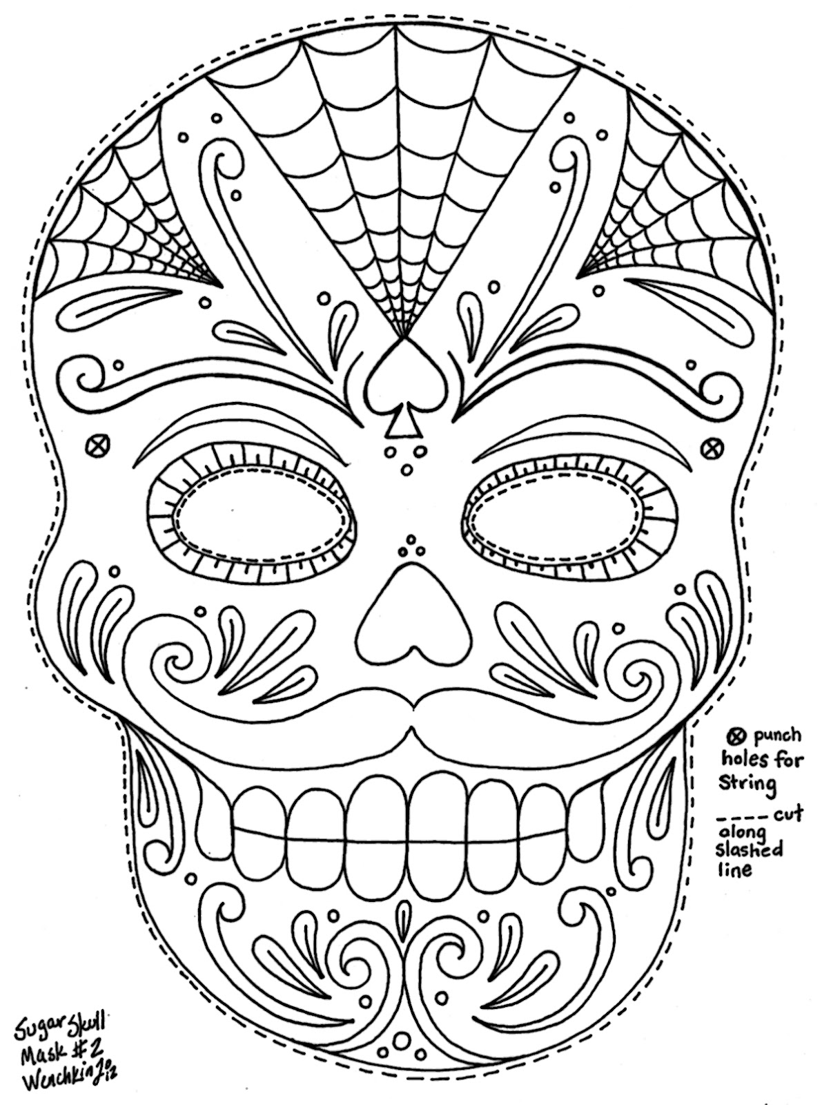1191x1600 Skull Drawing Template