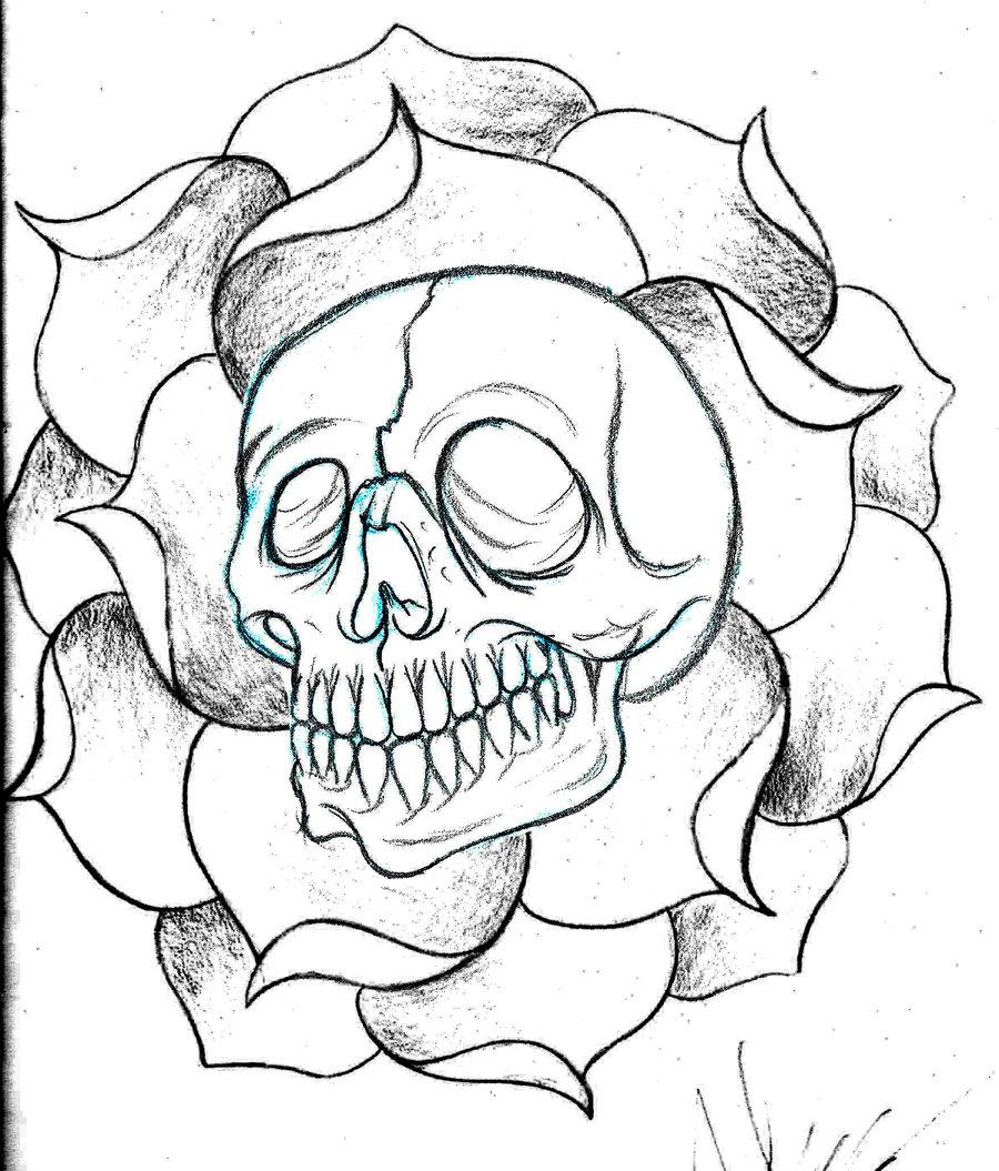 900x1055 Custom Skull And Flower Sketch By Deeperthanyou