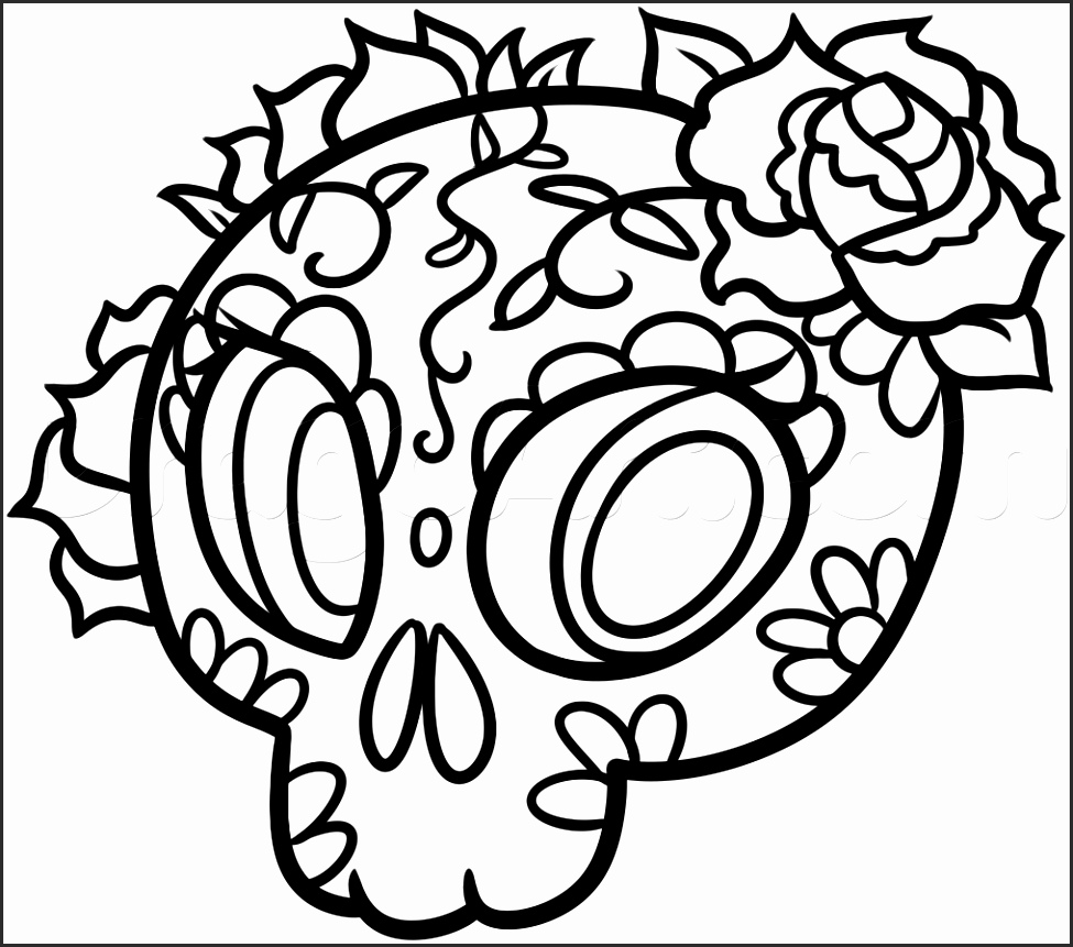 975x861 Day Of The Dead Skull Drawings Qafgi Lovely How To Draw Skulls
