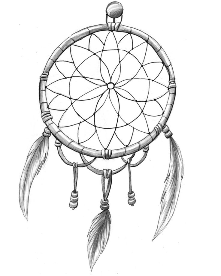 Easy Dreamcatcher Drawing