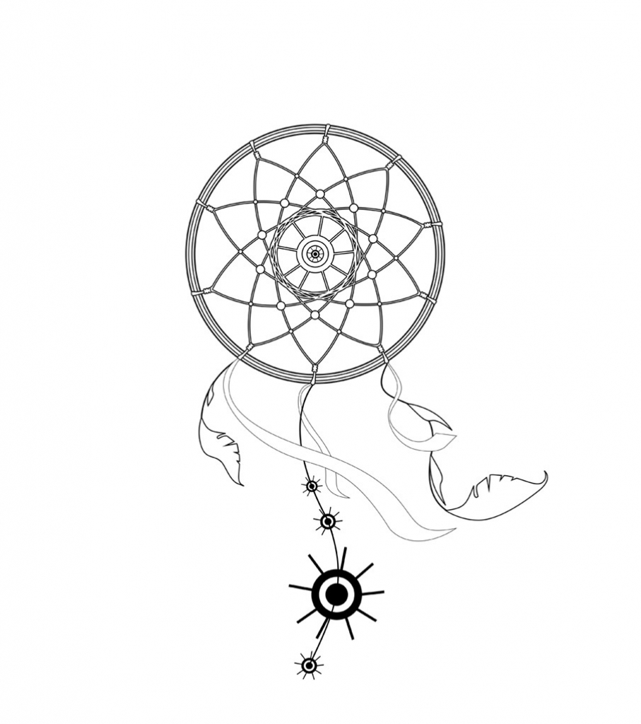 907x1024 Dreamcatcher Drawing Easy How To Make A Dreamcatcher With Your Own