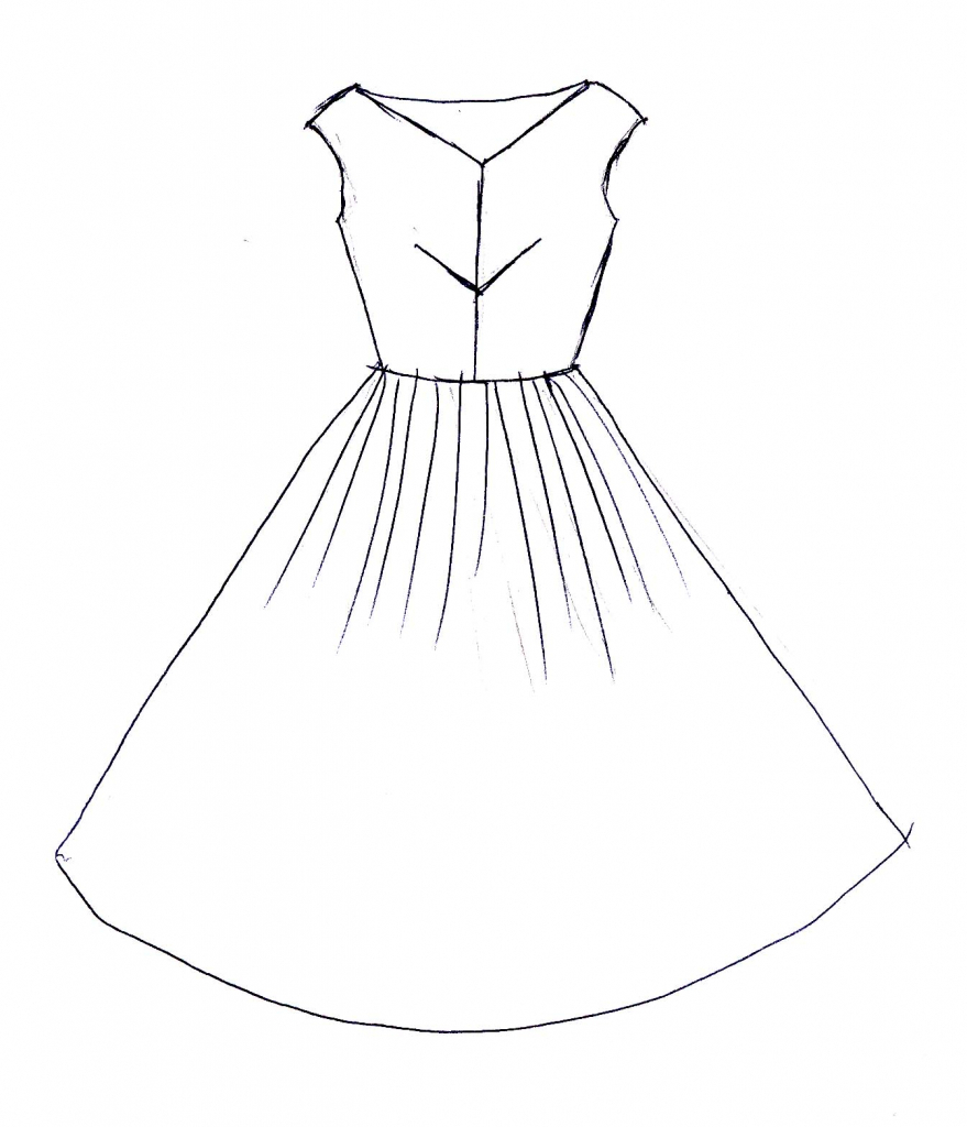 879x1024 Drawing Of A Dress Dress Easy Drawing How To Draw A Dress Stepstep