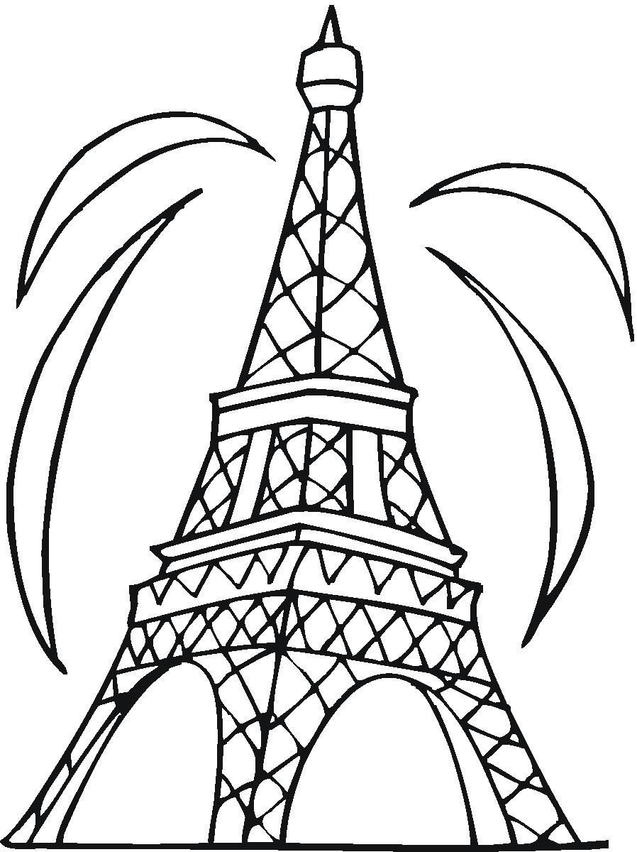 898x1200 Amazing Drawn Eiffel Tower Easy Pencil And In Color For Coloring