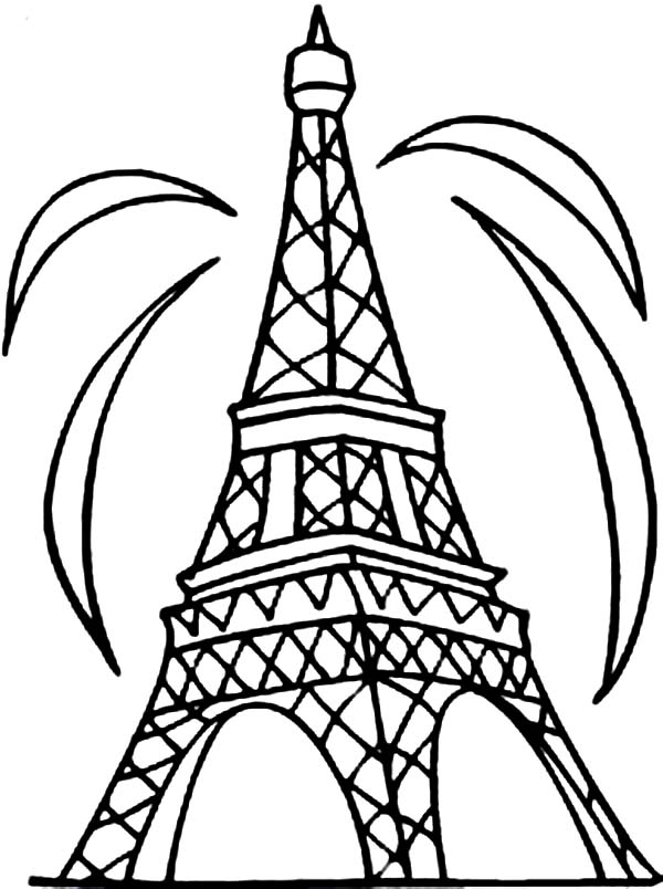 600x804 Fireworks And Eiffel Tower Coloring Page