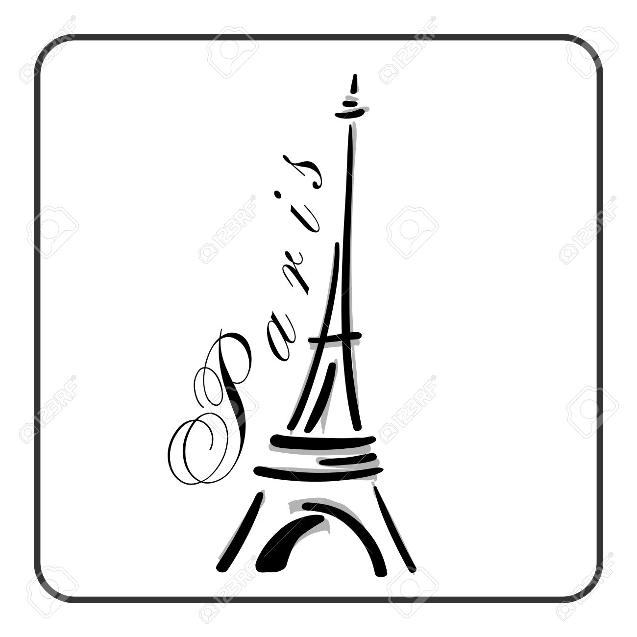 1300x1300 Illustration Eiffel Tower Two Styles Hand Stock Vector 753866140