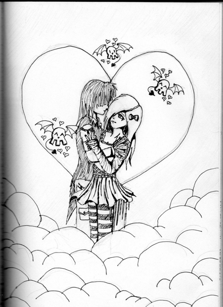 743x1024 Best Couple Drawing In Pencil Easy Structure Cute Love Drawings