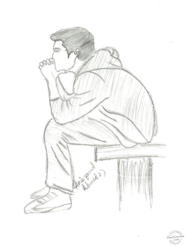 770x1024 Sketch Drawing Of A Sad Boy Easy Pencil Drawing Of A Sad Boy Sad