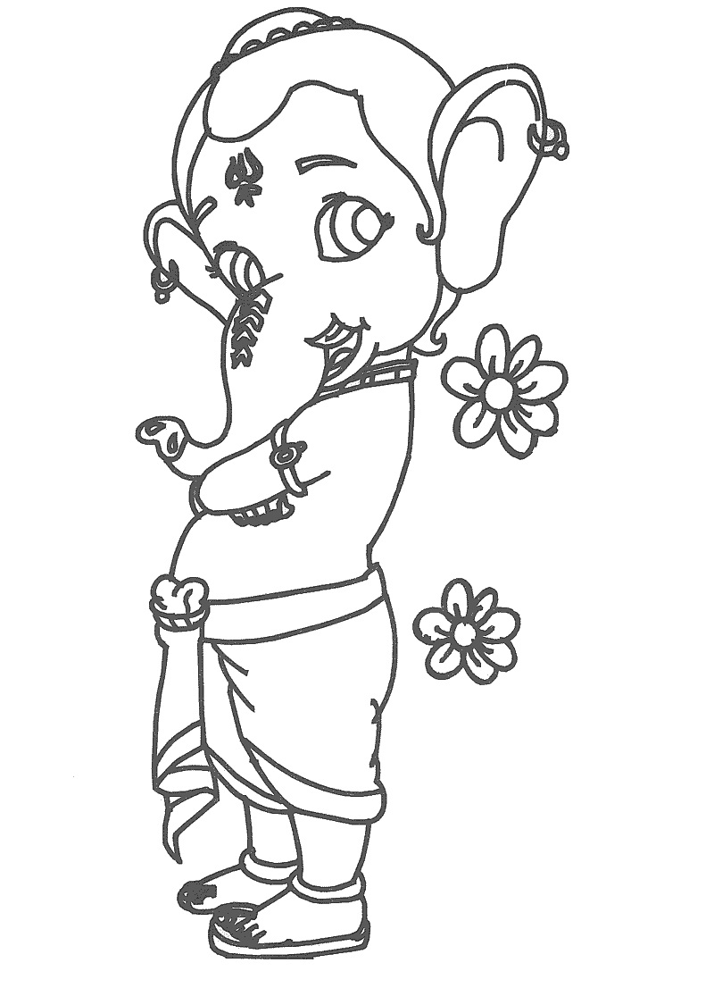 800x1106 Bal Ganesh Drawing Sketch Images Bal Ganesha Sketch Simple Bal