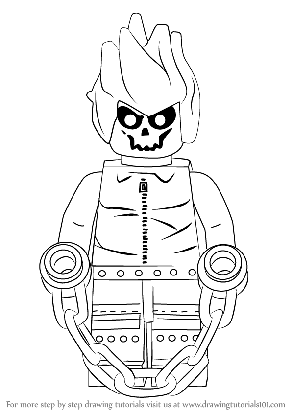 598x844 Learn How To Draw Lego Ghost Rider (Lego) Step By Step Drawing