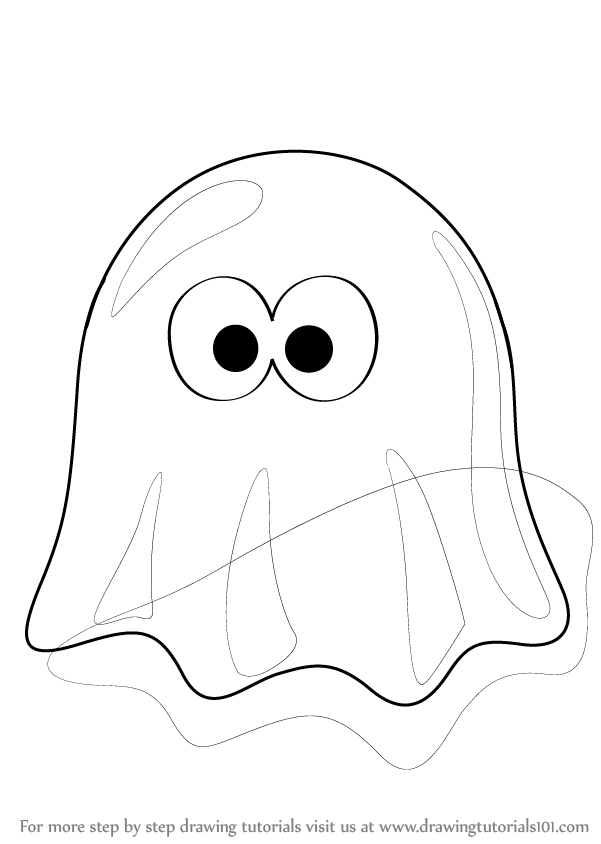 601x844 Learn How To Draw A Ghost Cartoon (Halloween) Step By Step