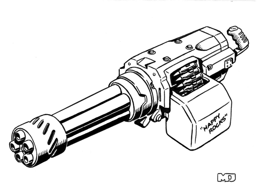 1025x780 Mini Gun Drawing Minigun Drawing Easy