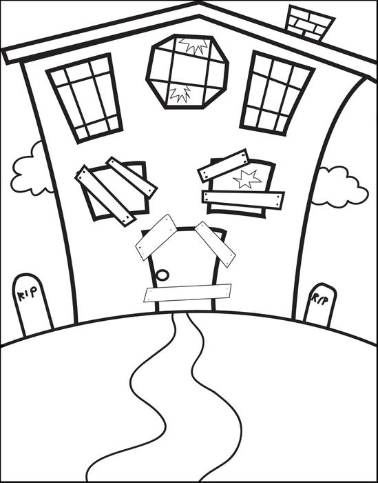 549x700 free printable halloween haunted house coloring page for kids - House Drawing Easy