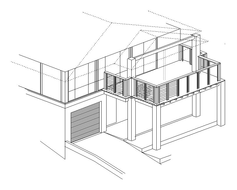 814x653 isometric drawing of a new timber deck for the yard amp the birds - Easy House Drawings