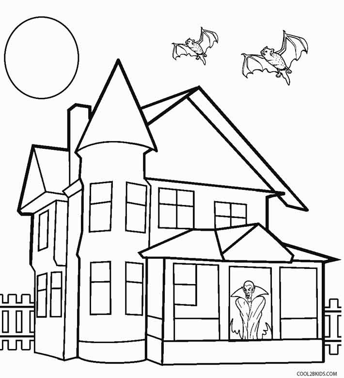 710x780 printable haunted house coloring pages for kids cool2bkids - House Drawing Easy