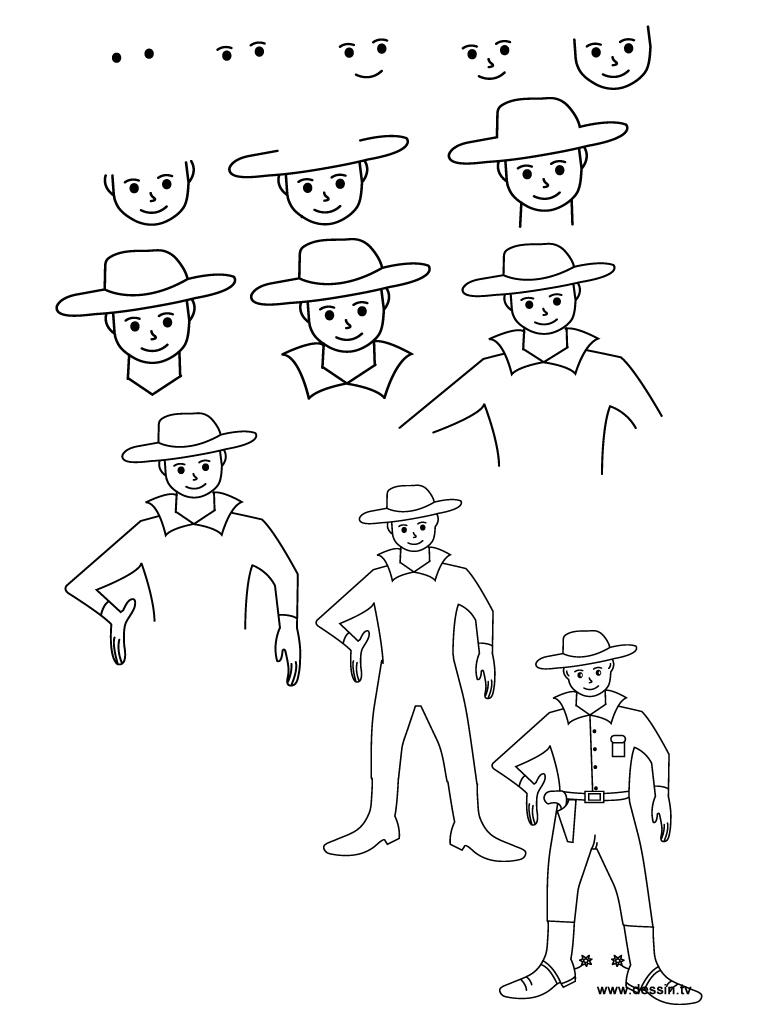 768x1024 Drawing Cowboy