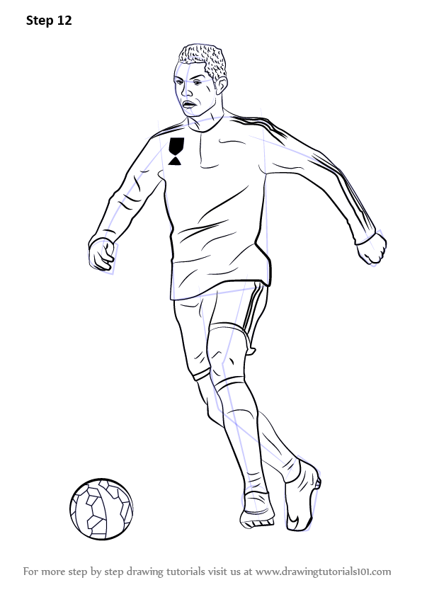 596x843 Learn How To Draw Cristiano Ronaldo (Footballers) Step By Step