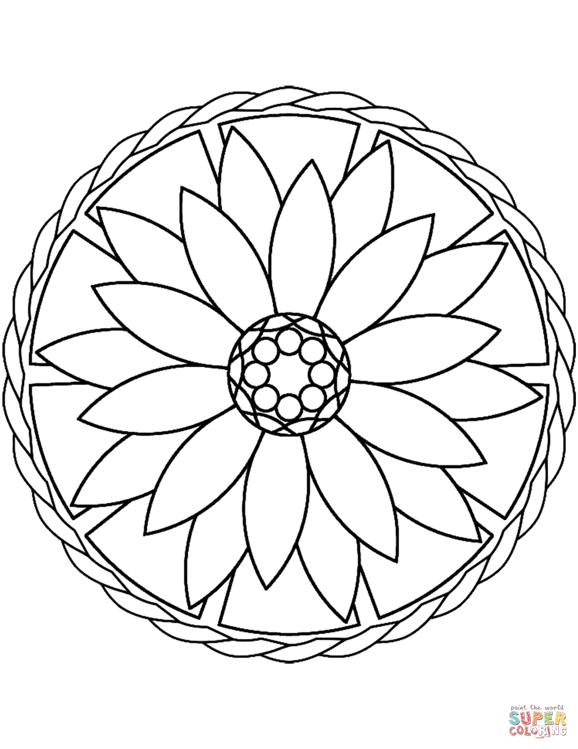 1159x1500 Simple Mandala With Flower Coloring Page Free Printable