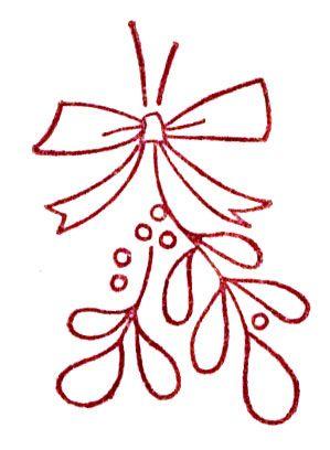 299x408 Mistletoe Redwork Christmas Mistletoe, Embroidery
