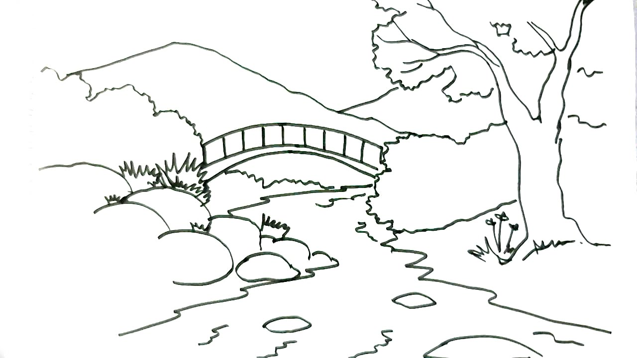 1280x720 How To Draw A Scene River In Easy Steps For Children. Beginners