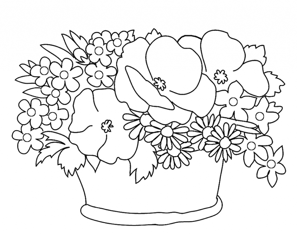 1024x810 Pencil Drawing Of Simple Flower Baskets How To Draw A Flower Vase