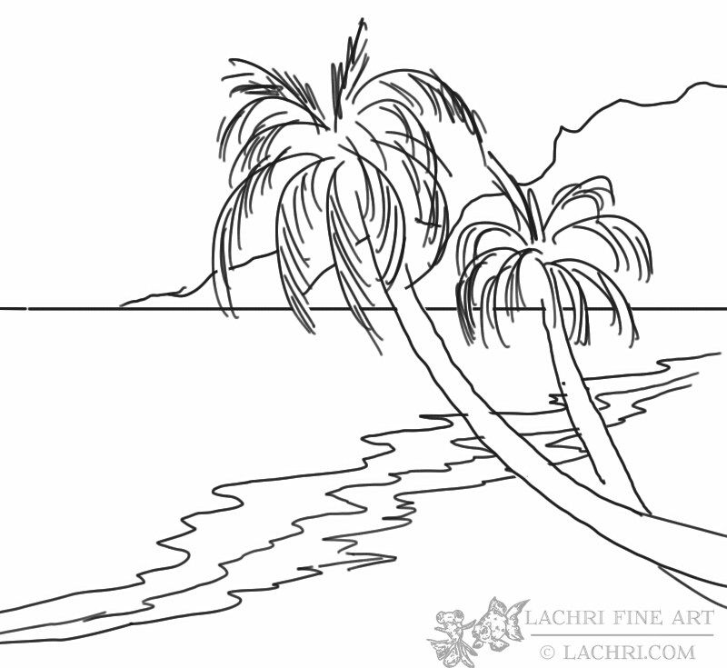 800x735 How To Paint A Beach And Palm Trees Palm, Beach And Drawings