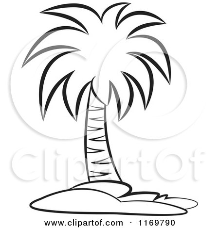 450x470 Clipart Of A Black And White Palm Tree