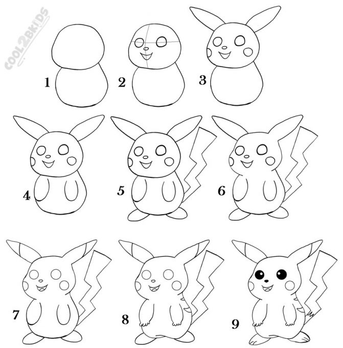 Easy Pikachu Drawing