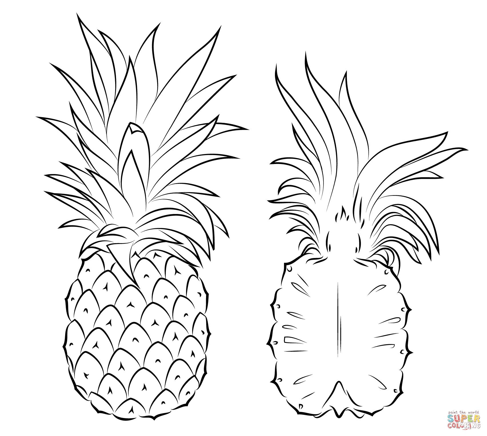 Beau Image De Ananas A Colorier