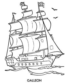 Easy Pirate Ship Drawing