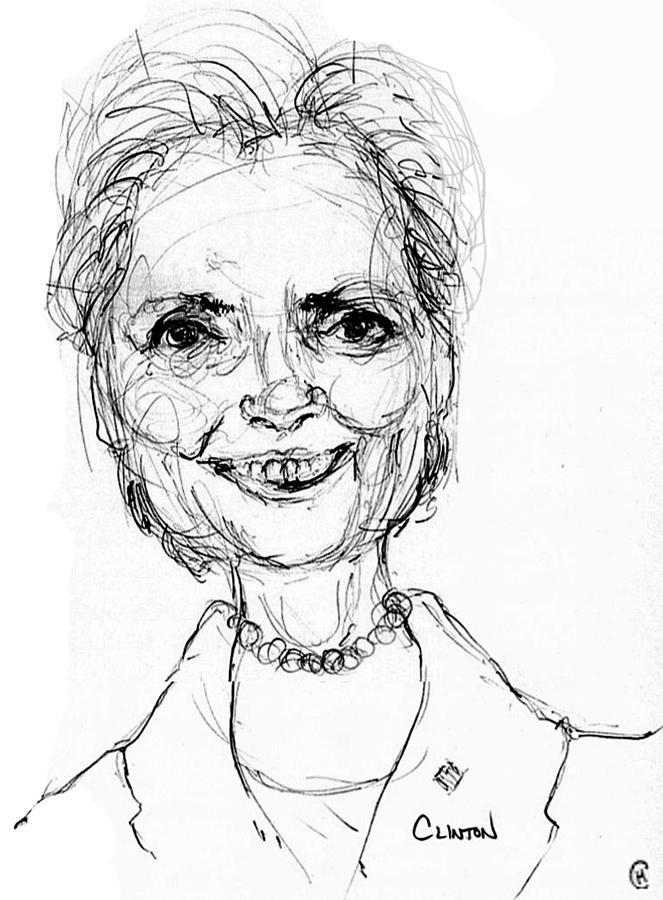 663x900 Clinton Drawing By Cameron Hampton Psa