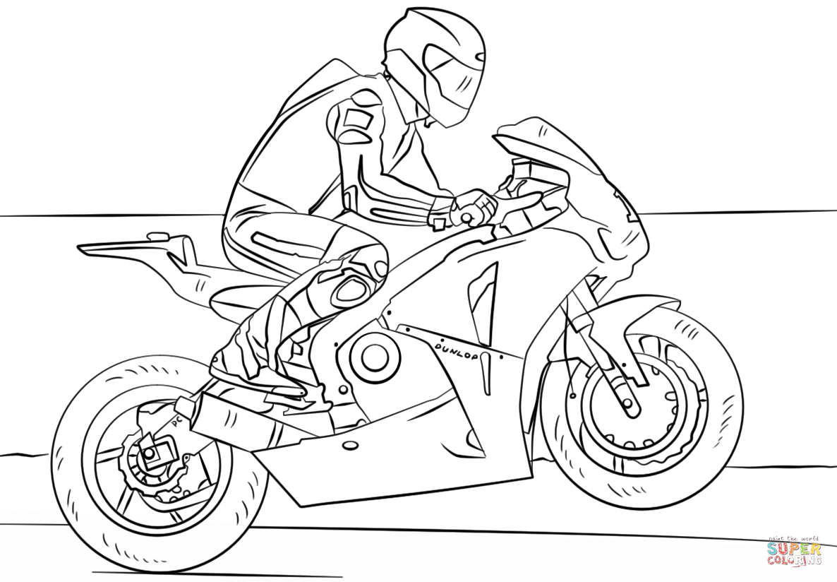 1186x824 Racing Motorcycle Coloring Page Free Printable Pages