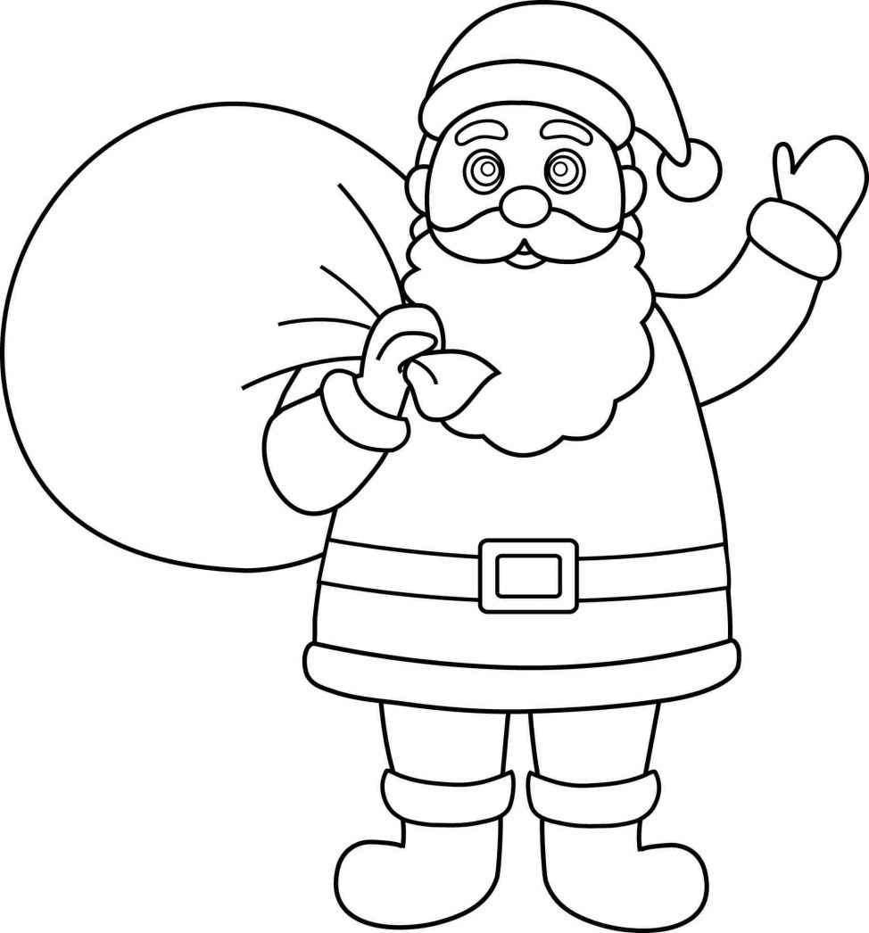 974x1046 Coloring Pages Santa Drawing For Kids Santa Claus Drawing Names