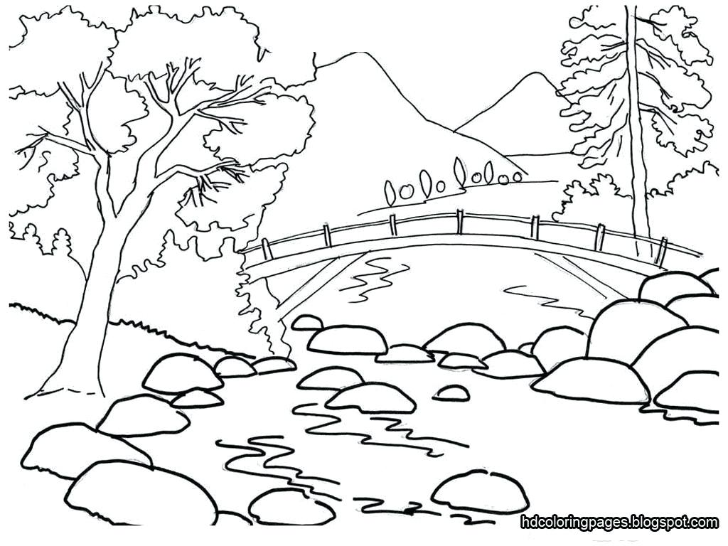 1024x768 Coloring Sketches For Coloring Easy Landscape Kids Farm Scenery