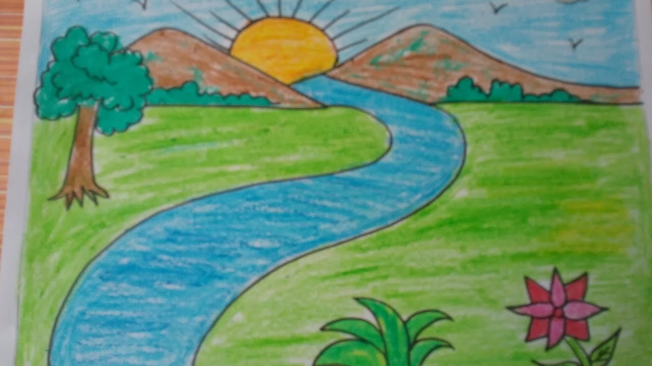 Easy scenery drawing for kids at free for Simple watercolor paintings for kids