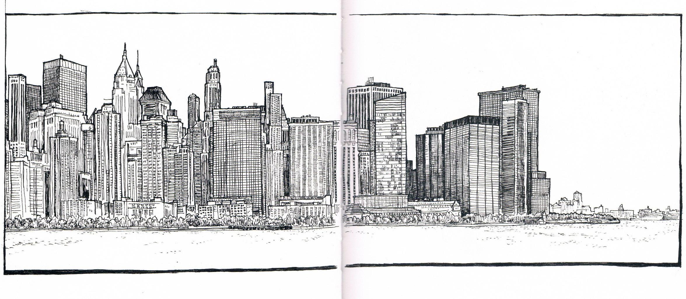 2352x1028 Manhattan Skyline From Jersey City Sketch November 2012