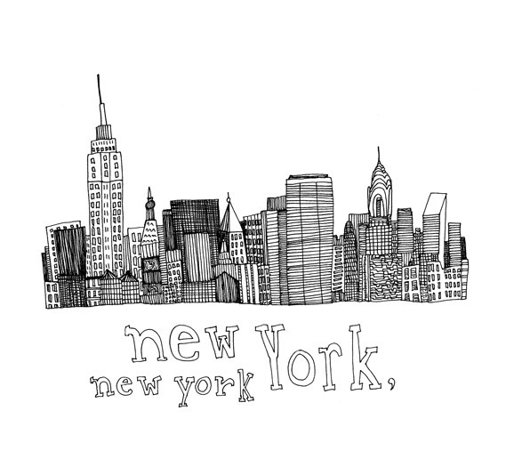 578x525 New York, New York 5x5 Print Of Original Pen And Ink Drawing