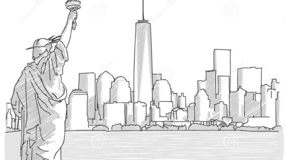 570x320 New York City Skyline Drawing Free Hand Sketch Of New York City