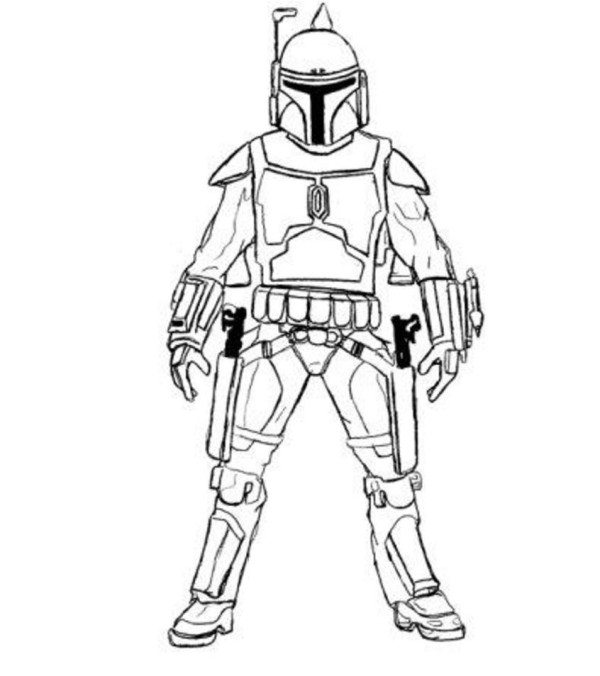 600x676 Easy Boba Fett Star Wars Coloring Pages