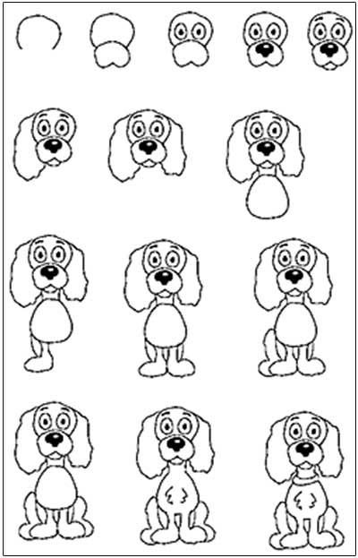 Drawing easy step by step 400x623 a small brown dog with a wet pink nose ppbf grade onederful
