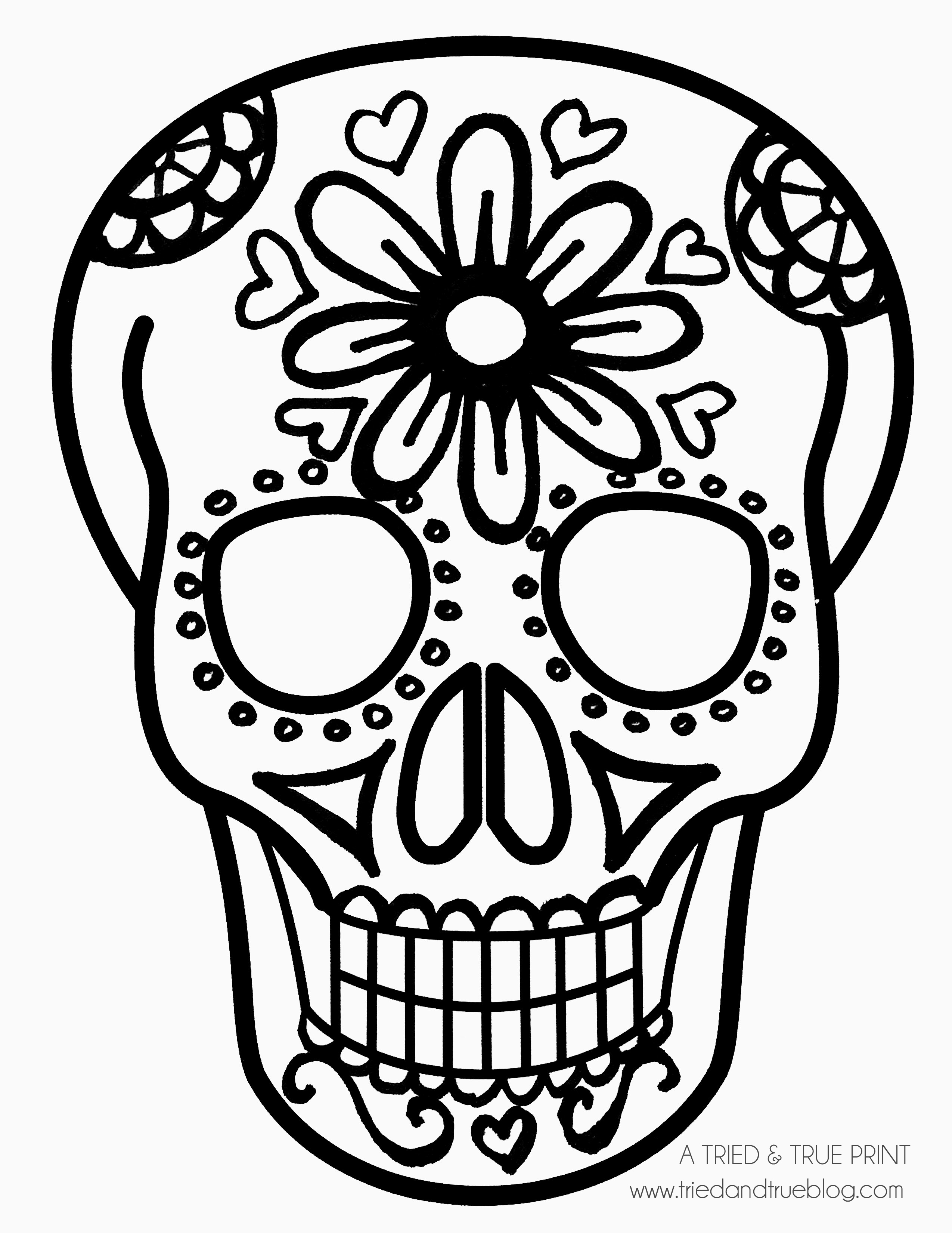 Easy sugar skull drawing at free for for Simple sugar skull coloring pages