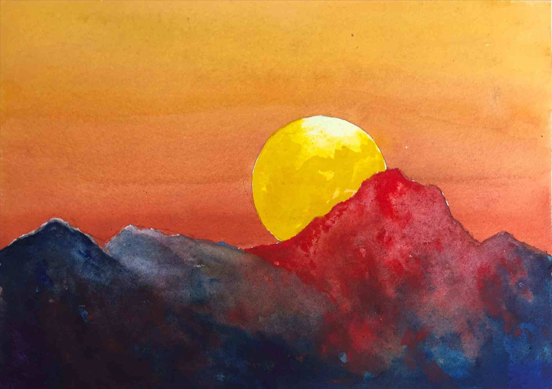 1900x1341 Easy Watercolor Paintings Exactly Sunset
