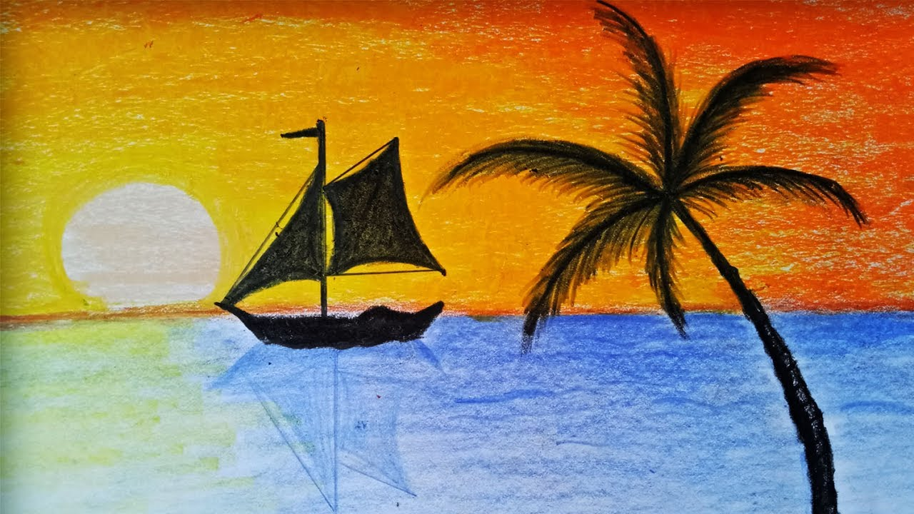 1280x720 How To Draw Sunset Scenery With Oill Pastel Step By Step(Easy