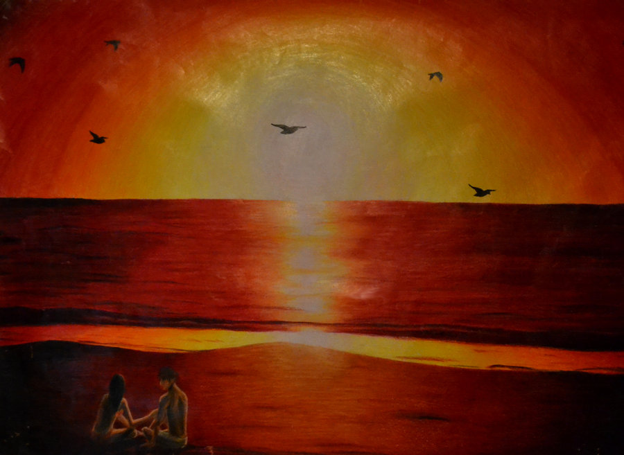 900x657 Pencil Crayon Sunset By Link7788
