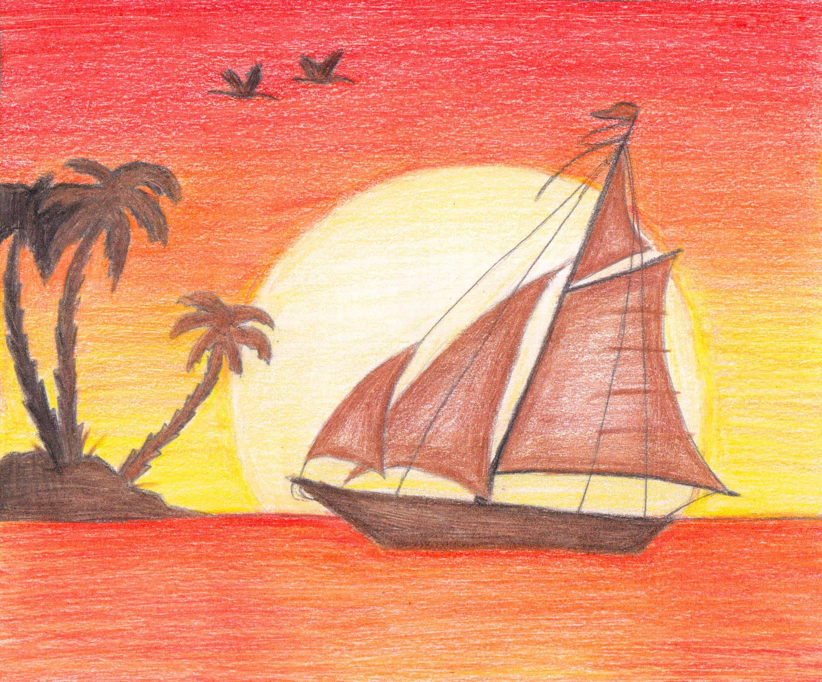 Easy Sunset Drawing At Getdrawings Com Free For Personal Use Easy