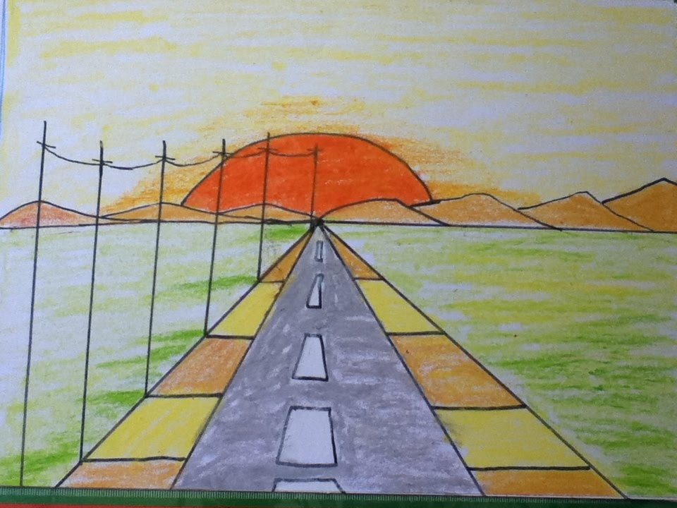960x720 Sunset Drawing For Kids In Simple Steps