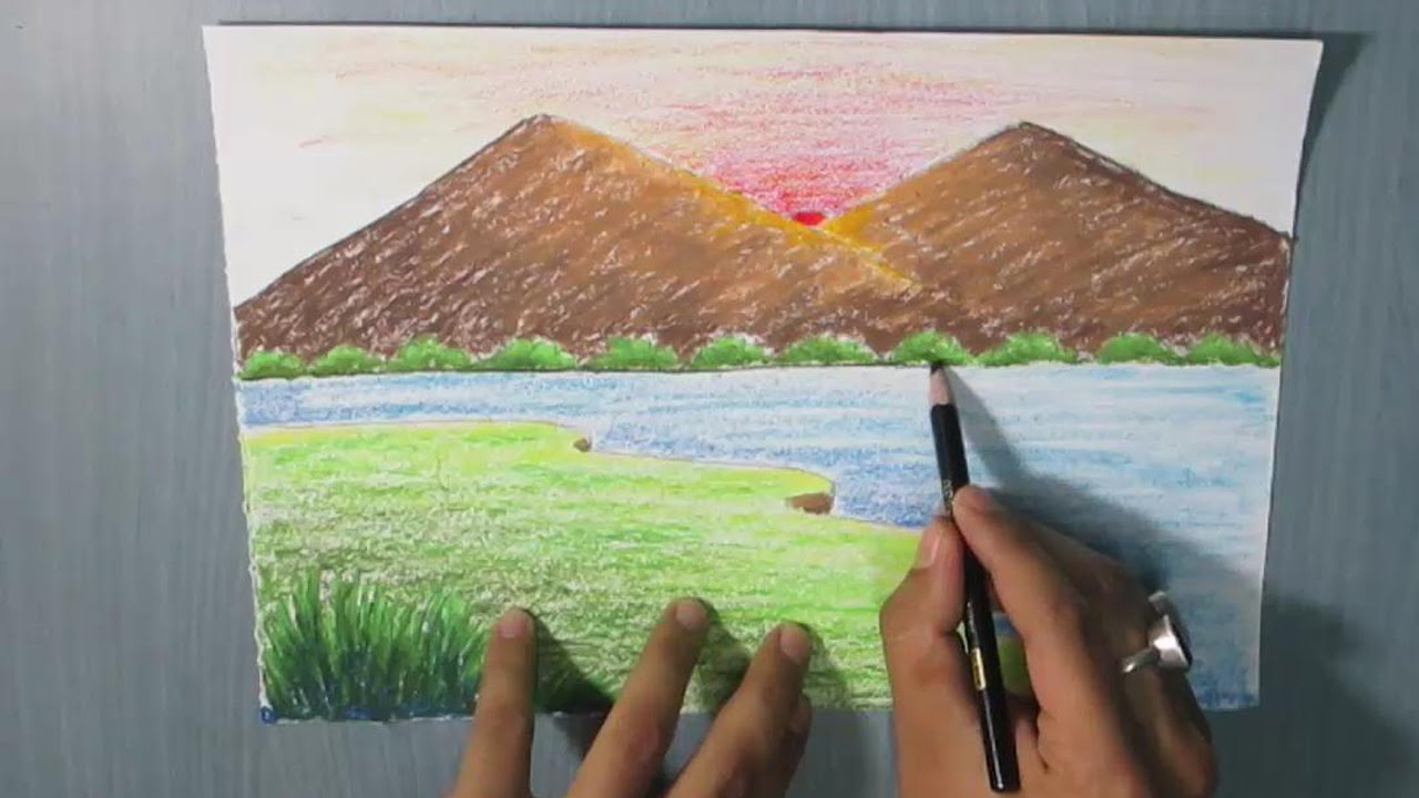 1280x720 Children Drawing River And House Sunset How To Draw A